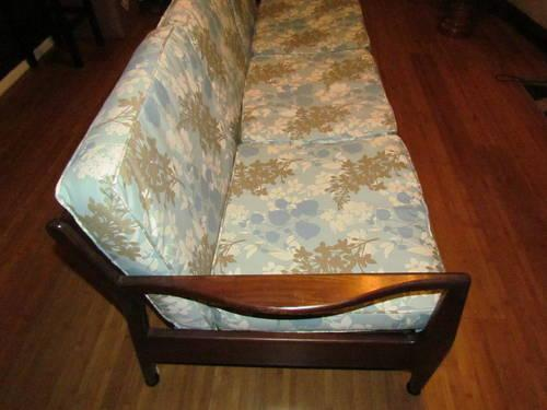 Amazing Vintage Danish Modern Pull Out Sofa With New Leaf Print Caraccident5 Cool Chair Designs And Ideas Caraccident5Info
