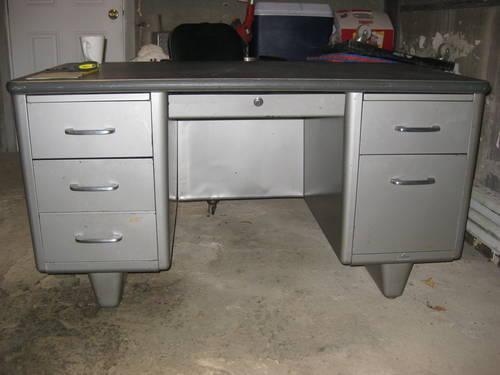 vintage steel furniture. Vintage Double-Pedestal Tanker Desk By All-Steel Steel Furniture