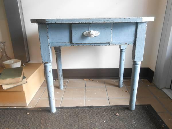 Vintage Dusty Blue End Table - $70