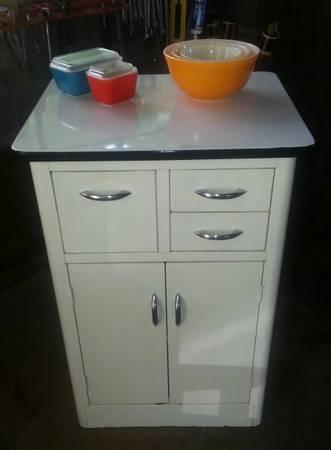Vintage Enamel Top Kitchen Cabinet With Breadbox For