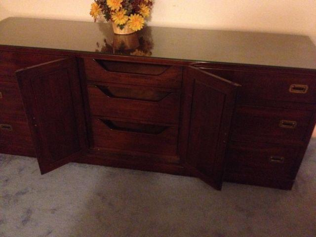 Vintage ethan allen canova cherry campaign style dresser for sale in