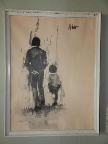 Vintage Quot Father And Son Quot Poster In Charcoal Med By Aldo