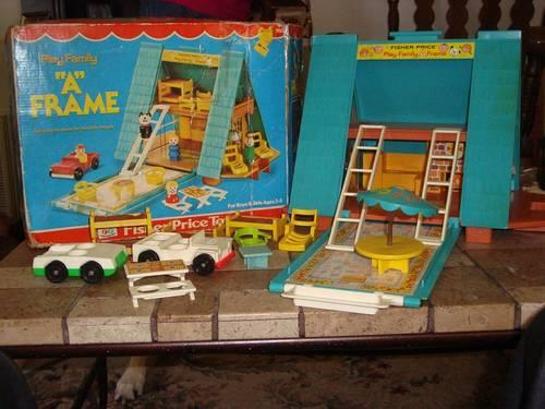 Vintage Fisher Price Little People Play Family A-Frame House Box Jeep