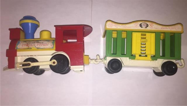 Vintage Fisher-Price Pull Circus Train - push button and honks