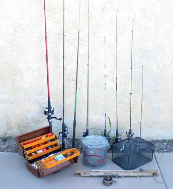Vintage fishing gear 7 poles 7 reels plus tackle box for Fishing gear for sale