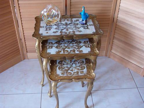 Vintage Florentine Style Nesting Tables Italy.