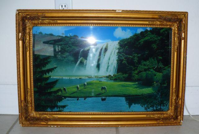 VINTAGE FRAMED MOVING WATERFALL LIGHTED MOTION PICTURE WITH SOUND ...