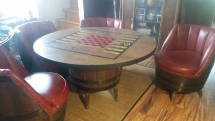 Vintage Game Table With Four Chairs Leather and Wood