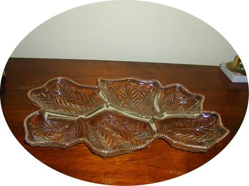 Vintage Glass Trimed in Gold Relish Tray