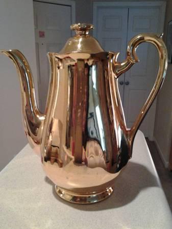 VINTAGE GOLDEN GLO by Hall, 22K Gold Espresso  Tea Pot