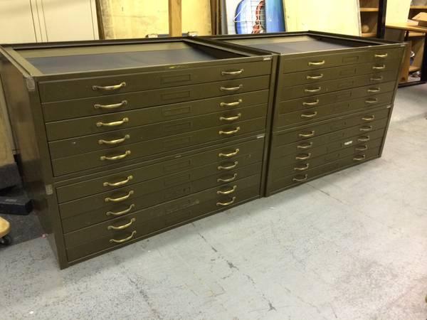 Genial Vintage Hamilton Army Green Flat File Cabinets   $250