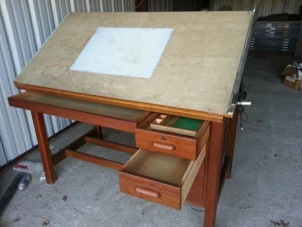 Hamilton Drafting Table w/ 3 Drawer Cabinet -Manual Tilt Top for Sale ...