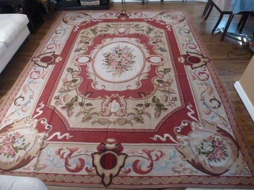 Vintage Handmade French Aubusson Style Rug 9X12