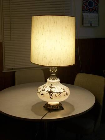 VINTAGE IREDESCENT PEARL WHITE GLASS LAMP - $40
