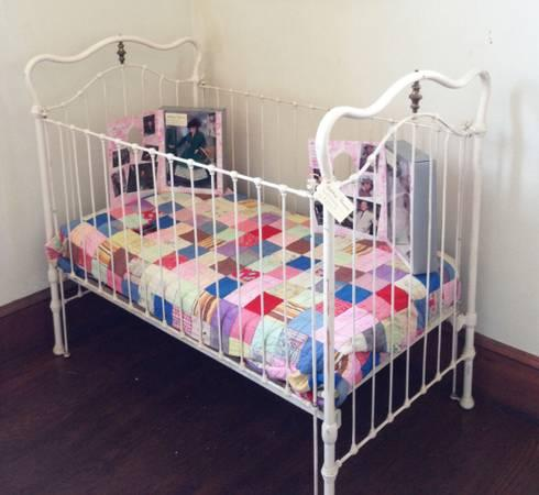 Vintage Iron  Brass Baby Bed
