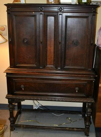 Vintage Jacobean Style Cabinet Hutch With Drawer   $140