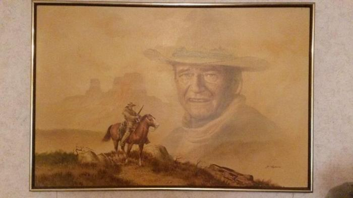 Vintage John Wayne Oil Painting