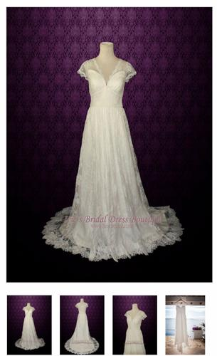 Vintage Lace Wedding Dress with V Neck  Ana