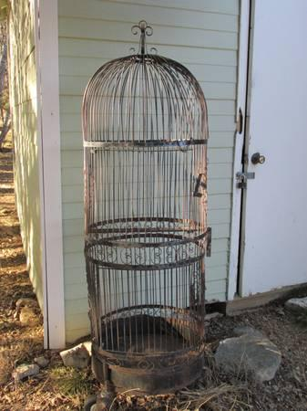 vintage large parrot bird cage steel simple 5 5 foot high for sale in dripping springs texas. Black Bedroom Furniture Sets. Home Design Ideas