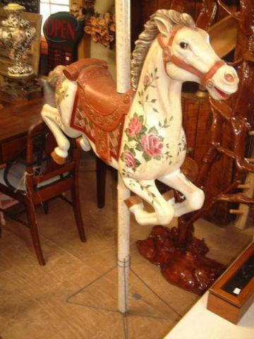 Vintage LARGE WHITE IVORY CAROUSEL HORSE W ROSES  STAND 60 TALL