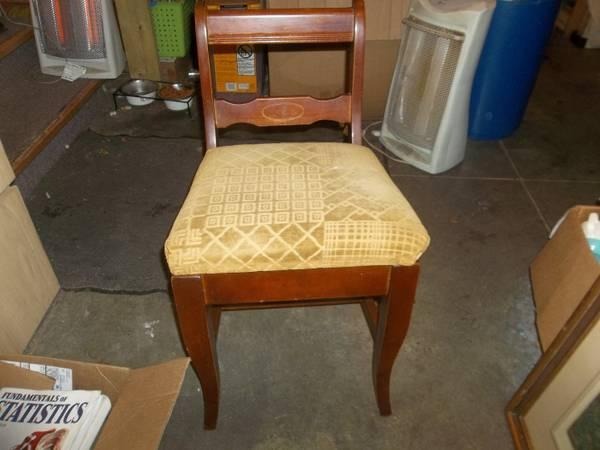 Vintage Low Back Sewing Chair With Storage Under Seat