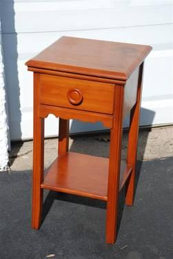 Vintage Maple Nightstand Accent Side Table With Drawer For
