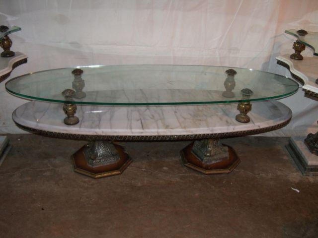 Vintage marble glass top coffee table 2 end tables for for Antique marble coffee table and end tables