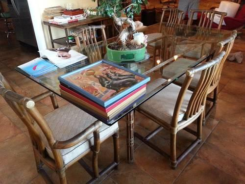 Vintage mcguire quot glass top dining table chairs