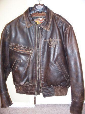 vintage mens brown leather harley davidson jacket for sale