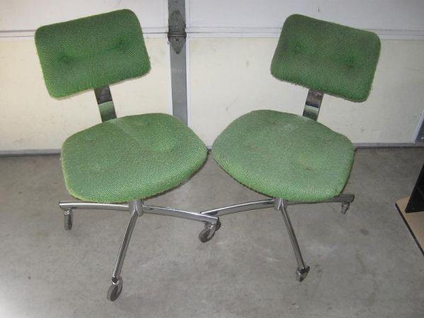 Vintage Metal Frame Green Cloth Padded Swivel Chairs