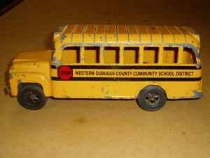 Vintage Metal Toy School Bus From Western Dubuque County