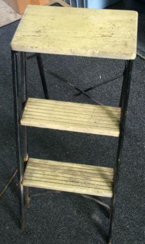 Vintage Metal  Wood Step Ladder Shabby Character Farm Chic Decor