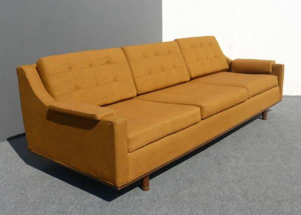 Fantastic Vintage Mid Century Danish Modern Gold Low Profile Sofa Ncnpc Chair Design For Home Ncnpcorg