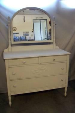 Vintage Mid Century Dresser with Attached Mirror