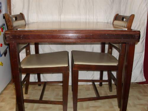 Vintage Mid-Century folding card Table w/4 matching