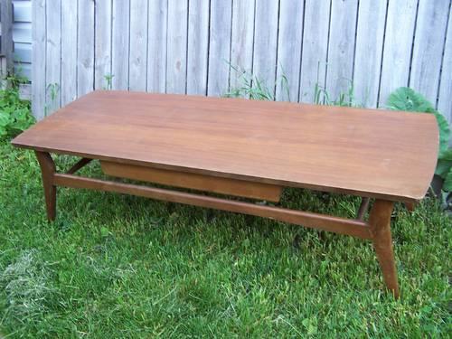 Vintage Mid Century Mersman 8172 Wood Coffee Table Sleek