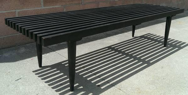 Vintage Mid Century Modern Slat Coffee Table Bench For Sale In