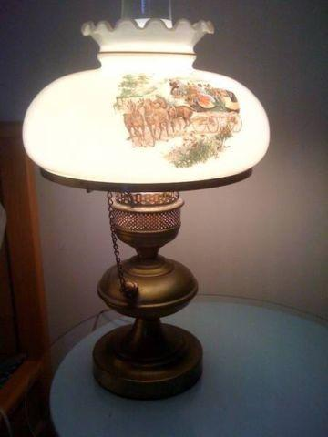 Vintage milk glass lamp shade w3 stagecoach scenes, brass base