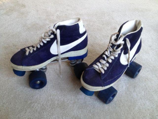 Vintage NIKE Blazer Blue Hightops Roller Skates - size nine mens