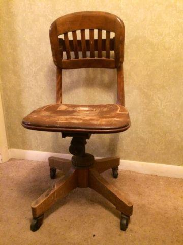 Vintage Oak Adjustable Office Chair For Sale In Fonda New York Classified