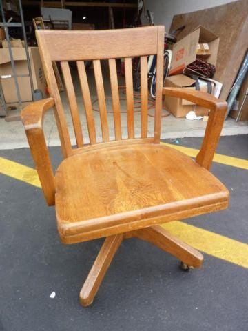 Vintage Oak Banker S Desk Chair By B L Marble From