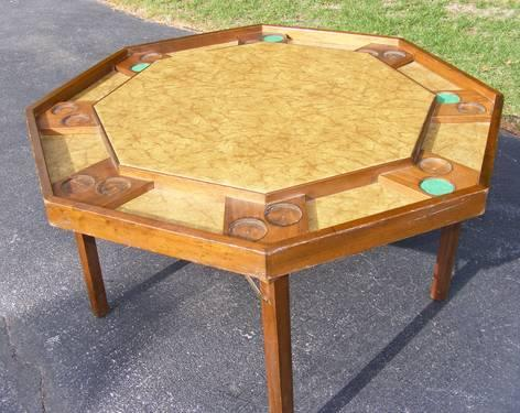 Vintage Oak Octagon Poker, Game, Card Table By Fischer
