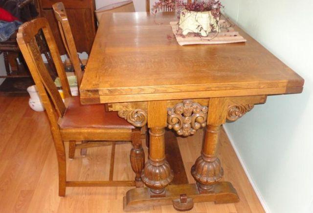 Vintage Oak Trestle Draw Leaf Dining Table & 4 Oak - Vintage Oak Trestle Draw Leaf Dining Table & 4 Oak Chairs, For Sale