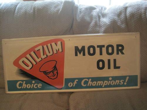 Vintage Oilzum metal sign and oil can