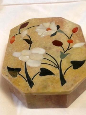 Vintage Onyx Jewelry or Trinket Box