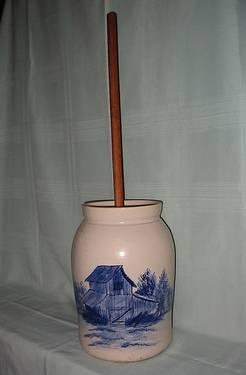 Vintage P R Storie Stoneware Butter Churn With Lid And