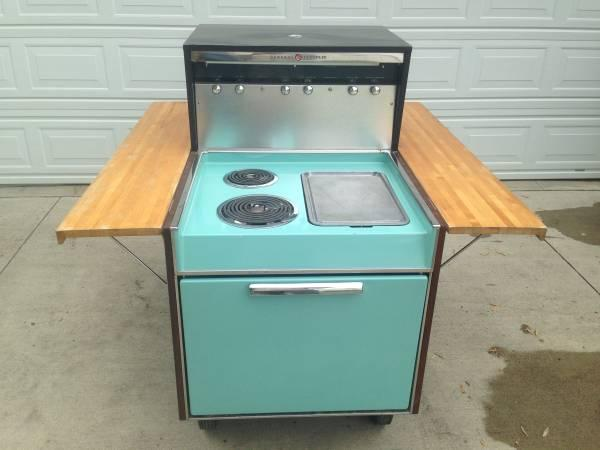 Vintage Partio Cart BBQ grill and stove top - $1895