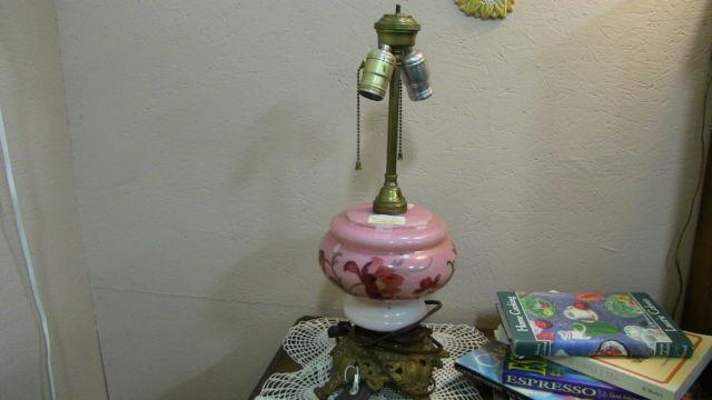 Vintage Pink Glass Lamp