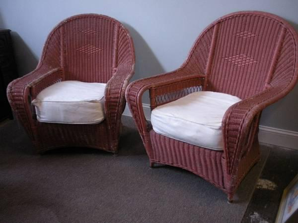Vintage Pink Wicker Chairs, set of 2 - $100