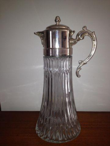 VINTAGE PITCHER, Tankard-Style, Silver-Plate and Glass, Excellent